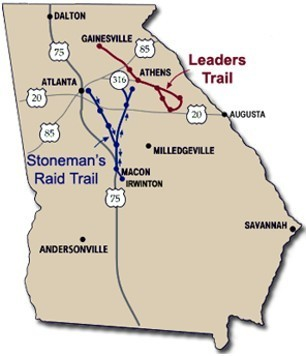 Civil War Trail Links Gainesville Milledgeville AccessWDUNcom - Georgia map milledgeville