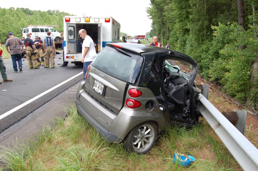 The Driver Of This 2010 Smart Car 23 Year Old Salvador Mora Was Airlifted To Grady Memorial Hospital In Atlanta After He Thrown From During A