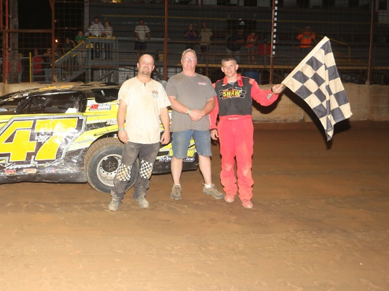 ... seen here from an earlier victory, took his first NeSmith Chevrolet Weekly Racing Series win of the season on Friday night at Hattiesburg Speedway.