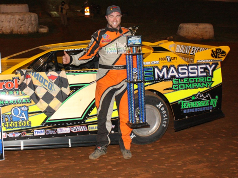 Donald McIntosh celebrates after winning his second straight Hangover 40 Friday night at 411 Motor Speedway.