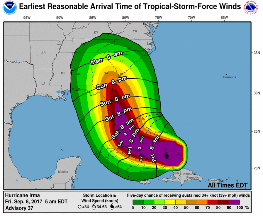 Hurricane Irma Tropical Storm Force Winds Expected In