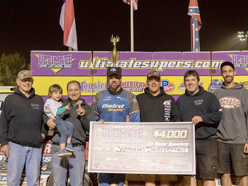 Jonathan Davenport scored a $4,000 victory Friday night for the ULTIMATE Super Late Model Series at 311 Motor Speedway.